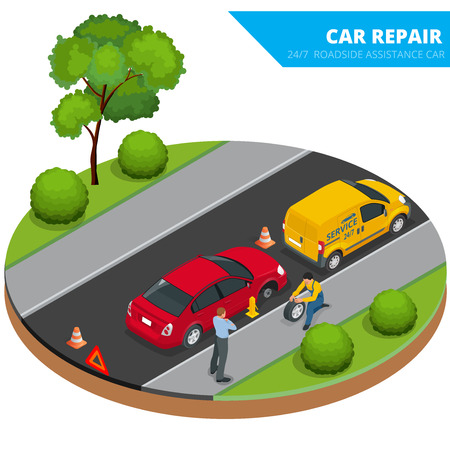 loosen: Roadside assistance car. Illustration