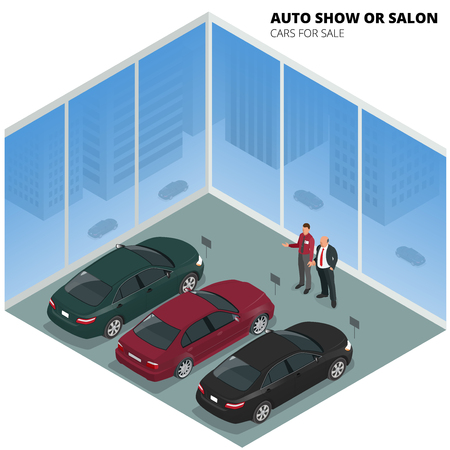 Commercially colorful cars stand in car shop. Stock Illustratie