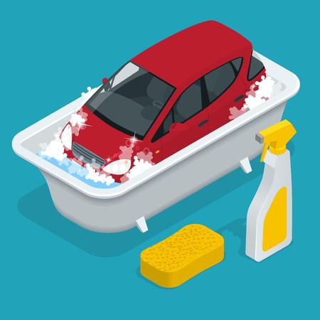 Lavado del coche. servicio de lavado de coches. Ilustración de vector
