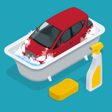 Mycie samochodów. Usługa mycia samochodów. Ilustracje wektorowe