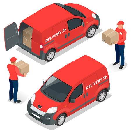delivery service: Free delivery Flat  vector isometric illustration