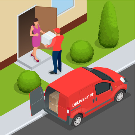 express delivery: Free delivery Flat  vector isometric illustration