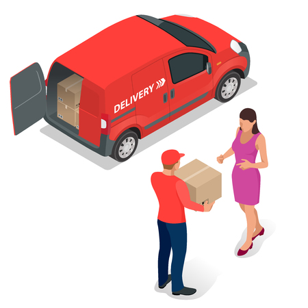 delivery truck: Free delivery Flat  vector isometric illustration