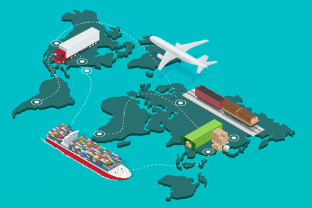 import trade: Global logistics network Flat  isometric  illustration Icons set of air cargo trucking rail transportation maritime shipping