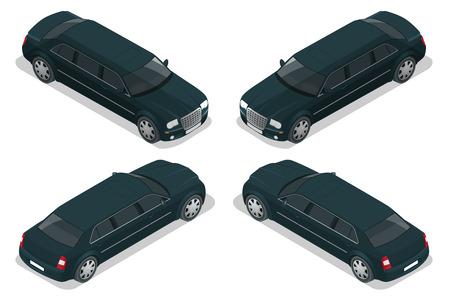 limousine: Black limousine VIP car  isometric illustration  Limousine icon, sign.