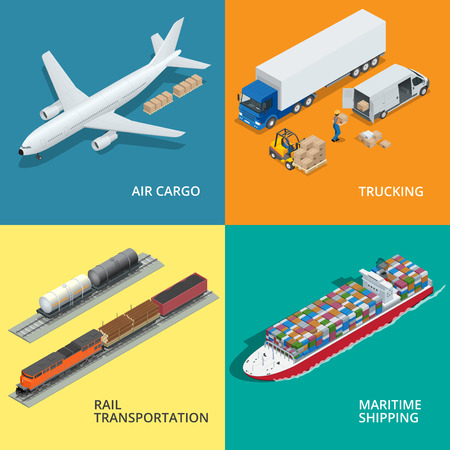 Logistic realistic icons set of air cargo