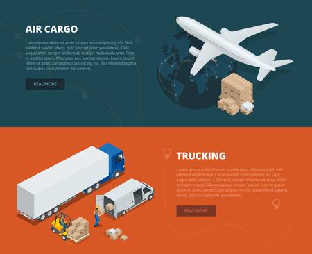 Concepto de banderas planas de logística de carga aérea, transporte por carretera. El tiempo de entrega. Entrega y logística isométrica del vector vehículos diseñados para transportar grandes cantidades de carga. red logística mundial