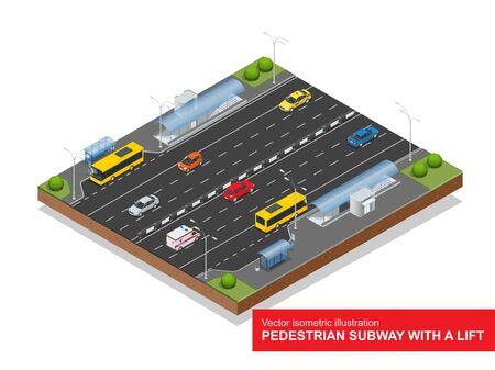 Isometric pedestrian subway with a lift under the highway. Ilustração