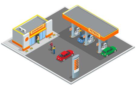 Stacja benzynowa, stacja benzynowa. Ilustracje wektorowe