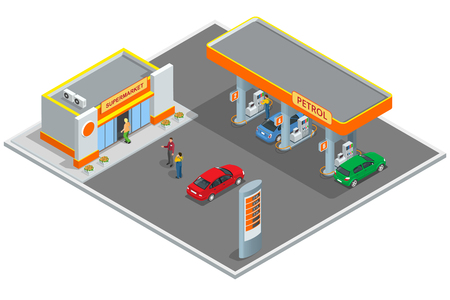 Gas station, petrol station.