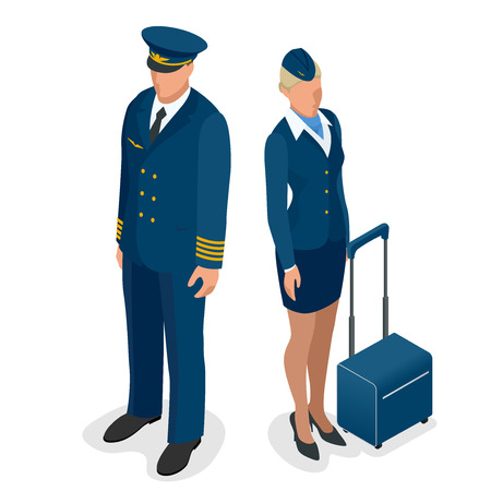 airline pilot: Captain of the aircraft and a beautiful flight attendant in a dark blue uniform Illustration