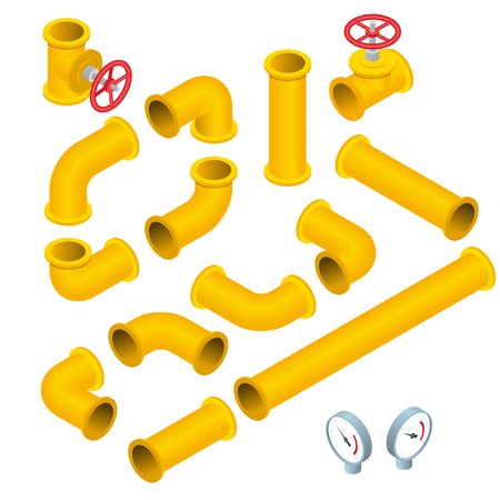 Vector  flat isometric illustration collection of detailed Construction Pieces pipes, fittings, gate valve, faucet, ells