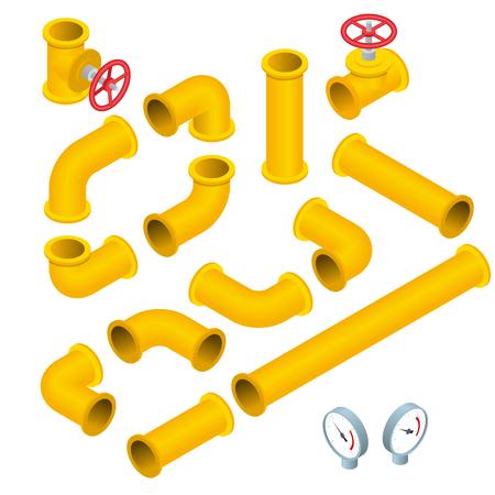 Wektor płaski izometrycznej ilustracji Kolekcja szczegółowych elementów konstrukcyjnych rur, armatura, zawór bramy, kran, ells