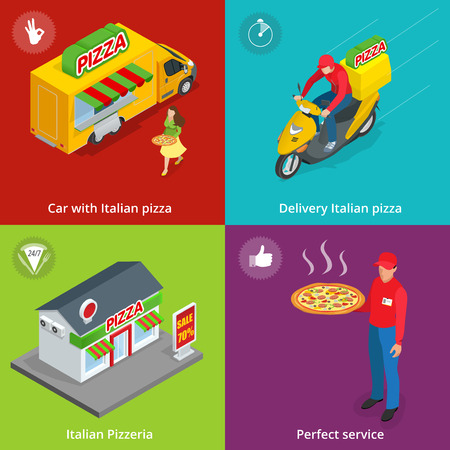 Illustration Set Banners with Italian Pizzeria, Mobile food truck, Car with Italian pizza, Perfect service, Delivery pizza, delivery boy. Flat isometric pizza consept. Illustration