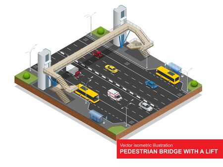 Isometric pedestrian bridge with a lift over the highway.