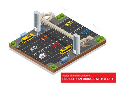 footbridge: Isometric pedestrian bridge with a lift over the highway.