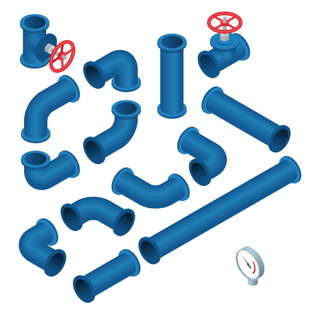 kunststoff rohr: Vector flach isometrische Darstellung Sammlung