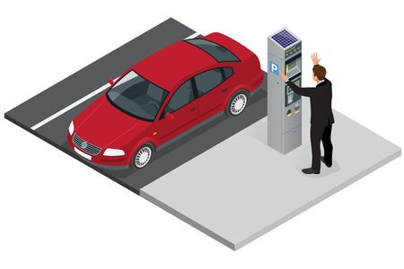 Parkeermeter niet ticket geven. Parkeermeter fout. Parkeermeter breken. Flat 3d isometrische vector illustration