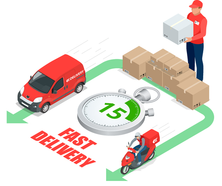 delivery service concept. Fast delivery car, fast delivery motobike, delivery man, stopwatch. Vector 3d isometric illustration