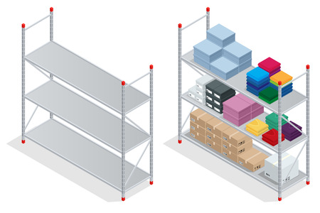 warehouse interior: Warehouse interior. Storehouse, goods. Empty warehouse shelves. Flat 3d isometric vector illustration