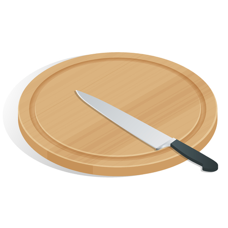 Knife on cutting board isolated on white. The cutting board and knife icon. Chef and restaurant, kitchen symbol Ilustracja