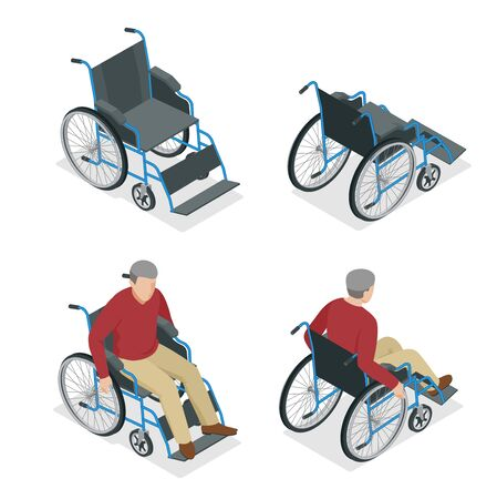휠체어 절연입니다. 휠체어에 남자가있다입니다. 평면 3d 아이소 메트릭 벡터 일러스트