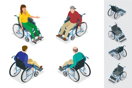 persona en silla de ruedas: aislado silla de ruedas. Hombre en silla de ruedas. Vectores