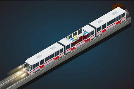 subway train: isometric illustration of a subway train. Illustration