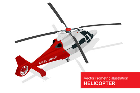 transposition: Red helicopter. Vector isometric illustration of  Medical evacuation helicopter. Air medical service