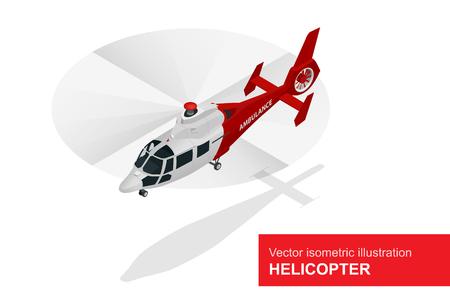 Elicottero rosso. Vector isometrico illustrazione di un elicottero di evacuazione medica. Servizio medico Aria