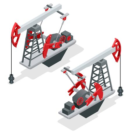 oil and gas industry: Oil pump. Oil pump oil rig energy industrial machine for petroleum. Oil and gas industry. Flat 3d isometric vector illustration for infographic Illustration
