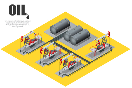 Oil field extracting crude oil. Illustration