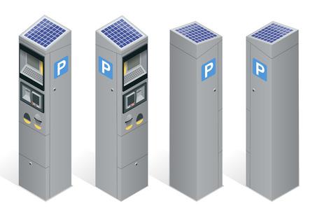 Parkeermeter waardoor betalingen via de mobiele telefoon, creditcards, munten.