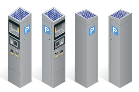 Parking meter allowing payment by mobile phone, credit cards, coins.