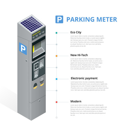 allowing: Parking meter allowing payment by mobile phone, credit cards, coins.