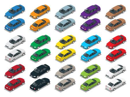 세단 자동차 - 플랫 아이소 메트릭 높은 품질의 도시 교통 아이콘 세트 일러스트