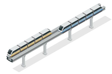 subway train: Vehicles designed to carry large numbers of passengers. Isolated vector of modern high speed train
