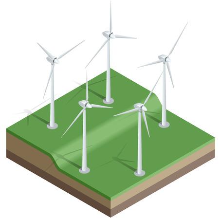 Flat 3d isometric illustration. Wind turbines. Wind energy