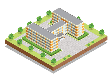 secondary school students: School or university or college building. Flat design web isometric concept