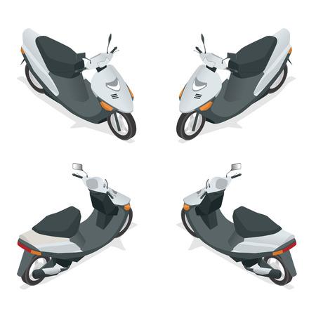 scooter: Motocicleta plana 3D isom�trico de alta calidad icono de transporte de la ciudad Vectores