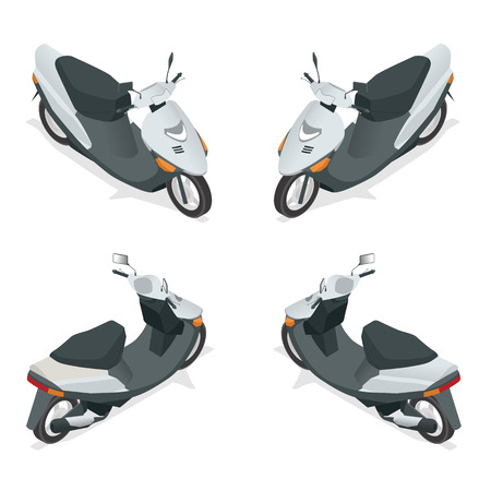 motor scooter: Motorcycle Flat 3d isometric high quality city transport icon