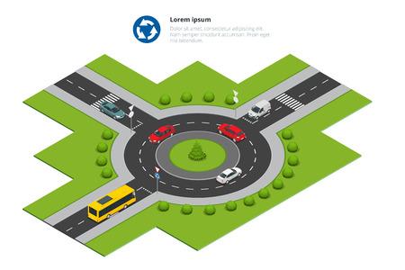 Rotonde, auto's, rotonde ondertekenen en rotonde weg. Vector Illustratie