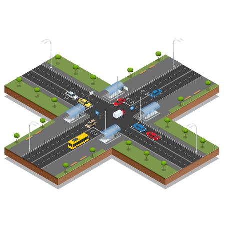 Crossroads and road markings isometric vector illustration. 일러스트