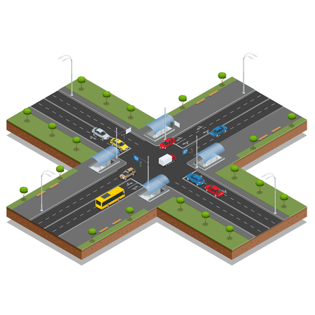 Crossroads and road markings isometric vector illustration.