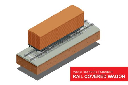 rail: Rail covered wagon isometric illustration of  rail covered wagon.