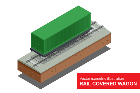 boxcar train: Rail covered wagon isometric illustration of  rail covered wagon. Rail freight transportation Illustration