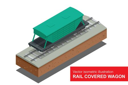 boxcar: Rail covered wagon isometric illustration of  rail covered wagon.