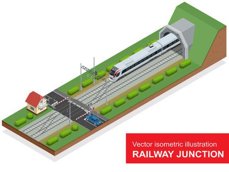 illustration isométrique d'une jonction de chemin de fer.
