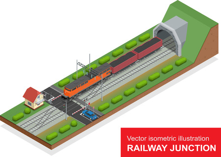 isometric illustration of a railway junction.