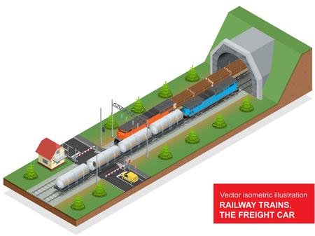 hazard stripes: isometric illustration of a railway junction. Illustration
